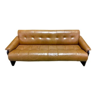 Brazilian Rosewood and Saddle Leather Long Sofa by Percival Lafer, #11874