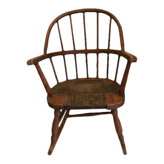 19th C American Child's Windsor Rocking Chair For Sale