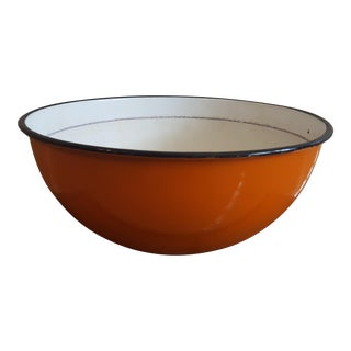 Large Vintage Enamel Orange Bowl