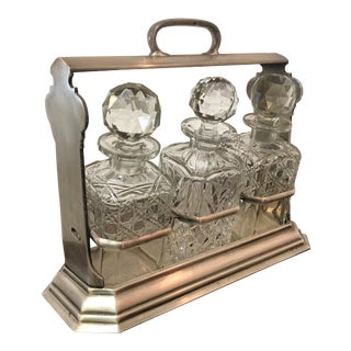 Antique Walker & Hall Silver-Plate Decanter Holder With Decanters - 4 Pc. Set For Sale