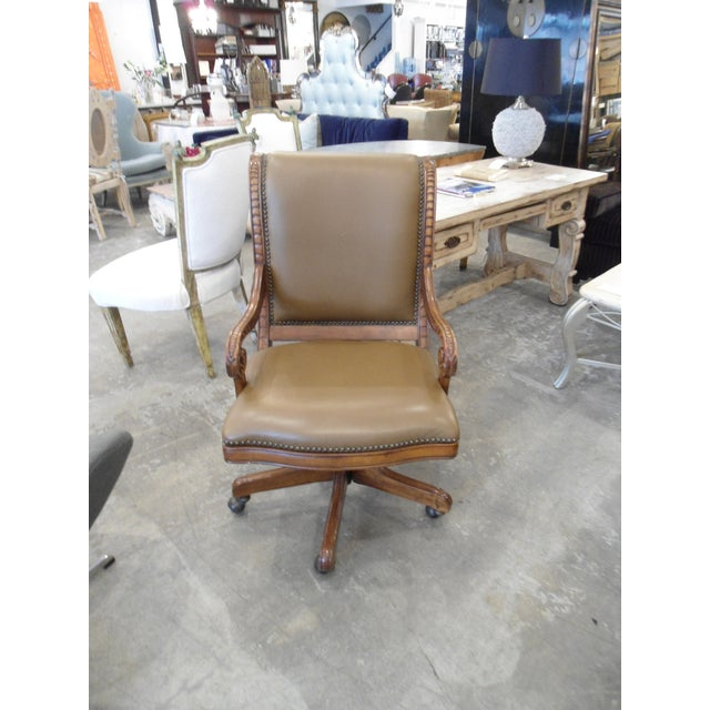 Swivel Office Chair with Tan Vinyl and Wooden Frame - Image 2 of 3