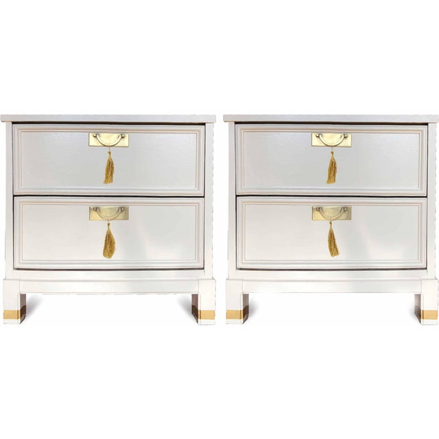 1960s Hollywood Regency White 2-Drawer Nightstands - a Pair For Sale - Image 9 of 9