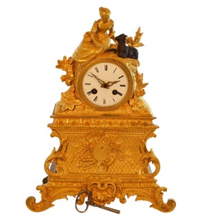 Antique 19th Century Gilded Mantle Desk Clock With Girl and Goat For Sale