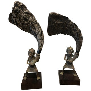 African Bronze Bamileke Cameroon Statues - a Pair For Sale