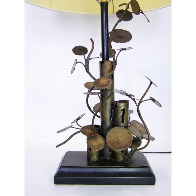 Silas Seandel Brutalist Metal Table Lamp-Curtis C. Jere Raindrops Sculpture Style Mid-Century Modern MCM Millennial - Image 3 of 11