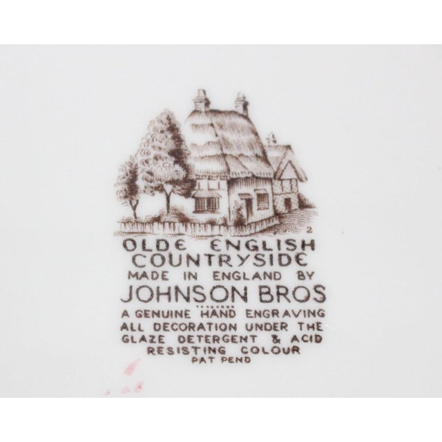 """French Country Johnson Bros """"Olde English Countryside"""" Brown Transferware Dinnerplates - Set of 6 For Sale - Image 3 of 4"""