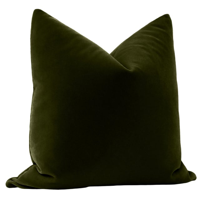 "Contemporary 22"" Olive Mohair Velvet Pillows - a Pair For Sale - Image 3 of 5"