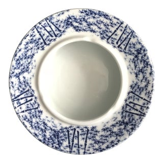 Vintage Asian Porcelain Large Blue and White Bamboo Design Ashtray