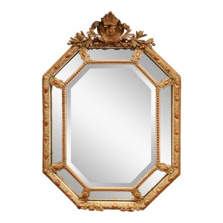 Mid-19th Century French Painted and Giltwood Octagonal Overlay Wall Mirror For Sale