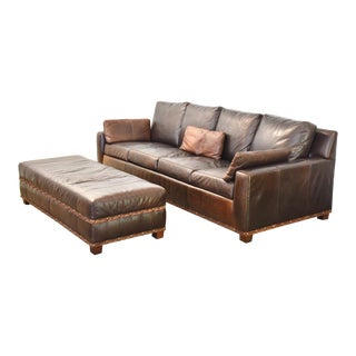 Stickley Leather Sofa and Ottoman - a Pair For Sale