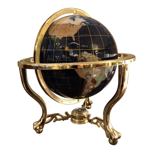Mixed Stone and Brass Desktop Globe For Sale