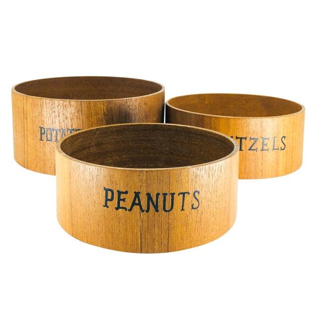 1980s Wood Snack Bowl Nesting Set - Set of 3 For Sale
