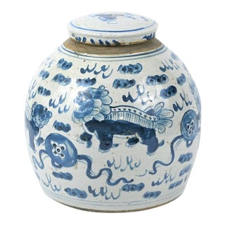 Chinoiserie White & Blue Foo Dog Ginger Jar For Sale