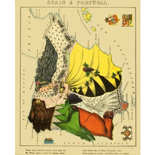 1869 Geographic Fun: Spain and Portugal in Mutual Friendship For Sale
