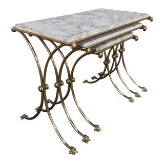 Set of Mid-Century Brass & Marble Nesting Tables For Sale