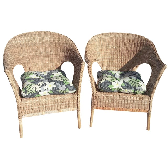 Wicker Patio Chairs with Cushions - A Pair - Image 1 of 8
