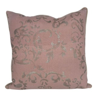 """""""Milano Petite"""" Silver Hand Printed Decorative Pillow For Sale"""