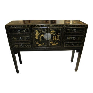 Black Decorated Chinese Console