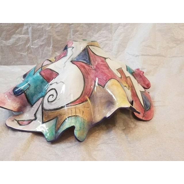 Abstract 1998 Vintage Harris Cies Art Pottery Bowl Centerpiece Design For Sale - Image 3 of 5
