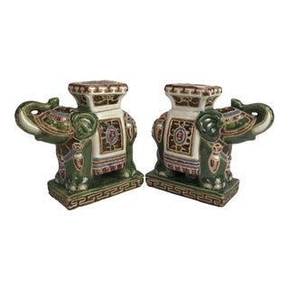 Vintage Ceramic Elephant Figurines Bookends - a Pair For Sale