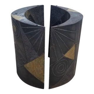 Brutalist Paul Evans Sculptural Dining Table Base - 2 Pieces For Sale