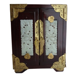 Asian Chinoiserie Wood & Brass Musical Jewelry Box