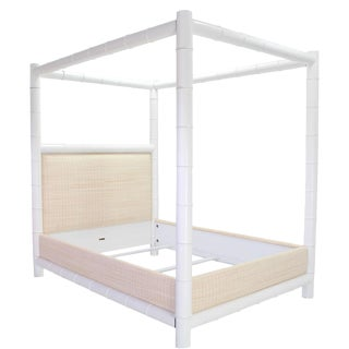 White Lacquer Faux Bamboo Canopy Bed Frame by Ralph Lauren Queen For Sale