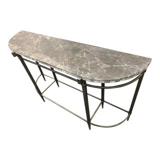 Bernhardt Grey Marble Stone Console Table For Sale