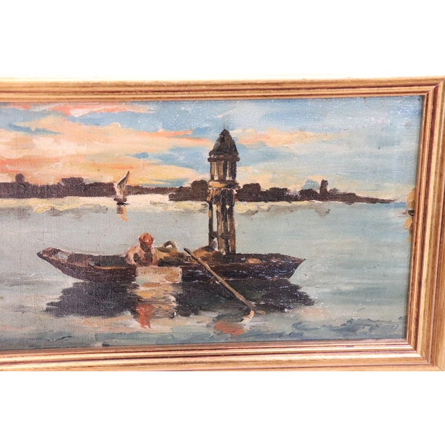 Important refined oil painting on canvas from a collection of 20th century works. Venice landscape oil painting on canvas...