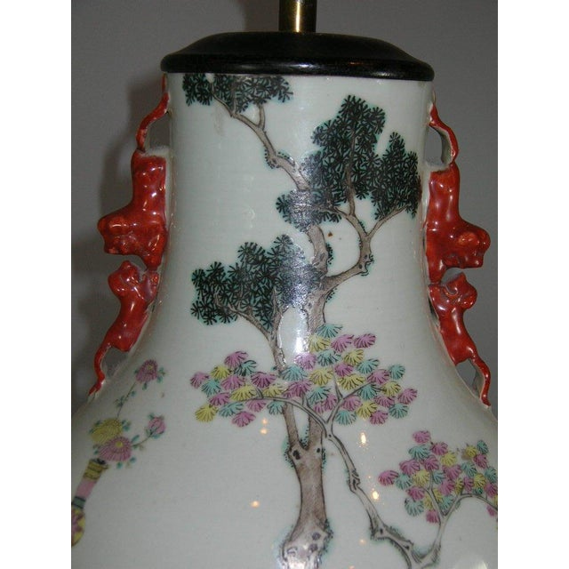 Antique Chinese Famille-Rose Glazed Table Lamp - Image 6 of 11