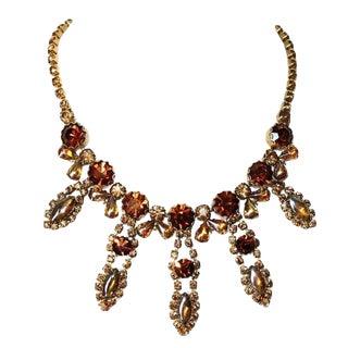 1950s Vintage Topaz & Amber Faceted Glass Bib Necklace For Sale