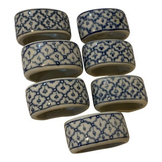 1980s Vintage Blue and White Napkin Rings - Set of 7 For Sale