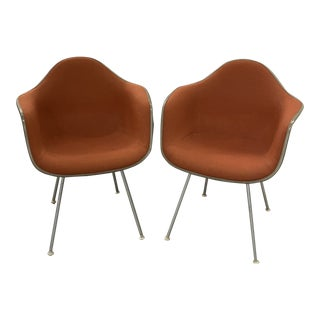 Vintage Herman Miller Chairs Upholstered Fiberglass Chairs Signed For Sale