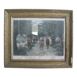 "Vintage ""Landscape With Cattle"" Print by F. De Vuillefroy"