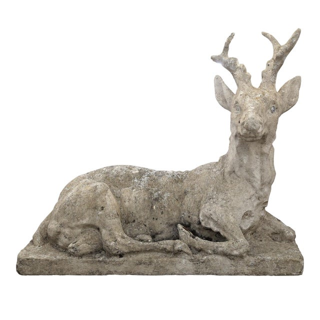 Vintage Concrete Stag Sculpture For Sale In Houston - Image 6 of 6