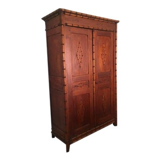19th Century Antique French Faux Bamboo Armoire
