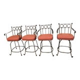 Image of Vintage Wrought Iron Bar Stools - Set of 4 For Sale