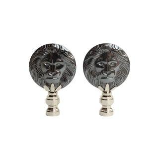 Hematite Lion Lamp Finials - A Pair For Sale