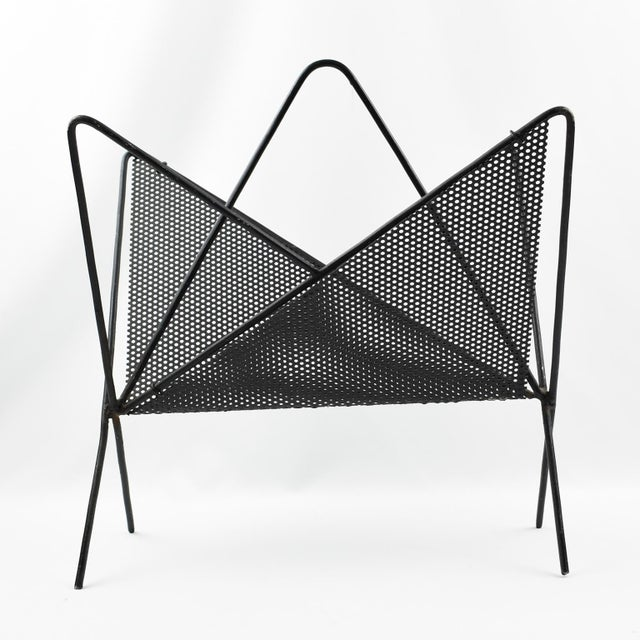 Metal Mathieu Mategot Iconic Butterfly Magazine Holder Rack Black Perforated Metal For Sale - Image 7 of 11