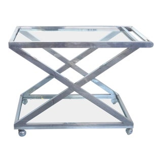 Mid-Century Modern Nickel-Plated Tea Trolley or Bar Cart For Sale