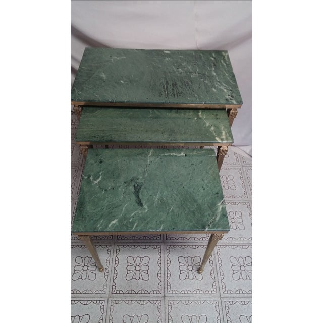 French Brass/Bronze Marble Top Nesting Tables- S/3 For Sale In Houston - Image 6 of 9