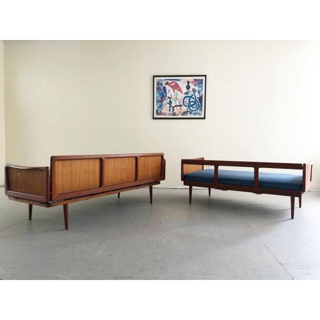 Danish Modern Mid Century Modern Peter Hvidt & Orla Mølgaard Nielsen Teak & Cane Sofa Set- 2 Pieces For Sale - Image 3 of 10