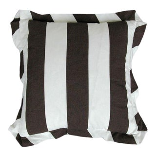 Draper Stripe Espresso & White Pillow Cover For Sale