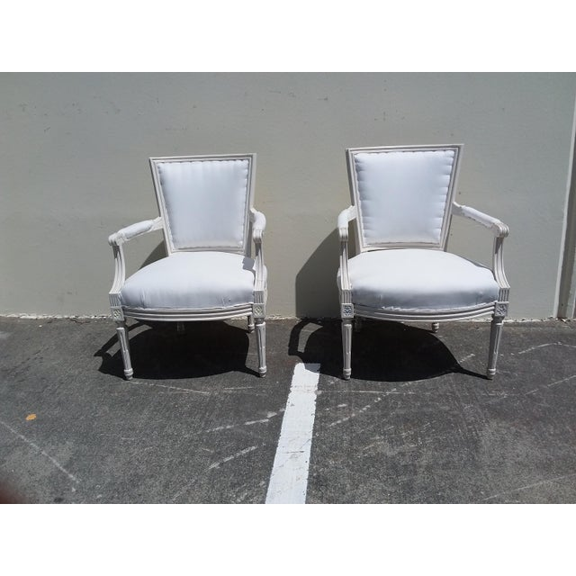 French Style White Arm Chairs - A Pair For Sale - Image 9 of 11