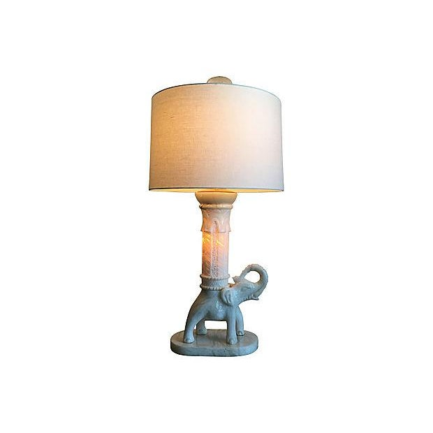 1950s Oversize Marble Elephant Lamp & Shade For Sale - Image 5 of 9