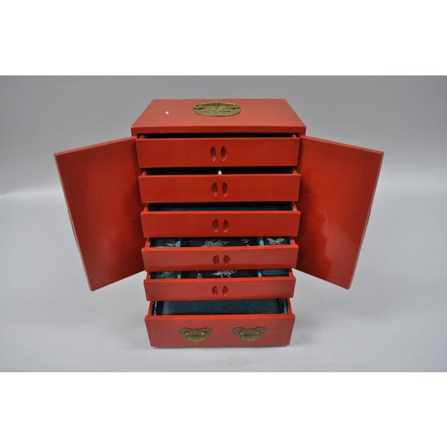 Asian Vintage Red Lacquer Chinese Jewelry Trinket Box For Sale - Image 3 of 13