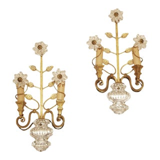 1950s Glass Flowers Sconces by Maison Baguès Paris - a Pair For Sale