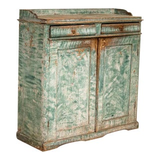 Antique Original Teal Green Folk Art Painted Sideboard For Sale