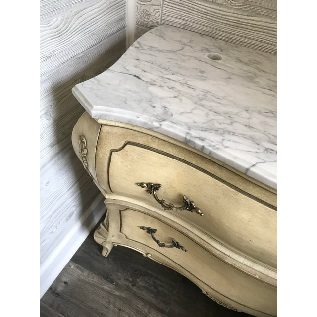 19th Century Italian Provincial Carrera Marble Custom Bathroom Vanity For Sale - Image 4 of 7