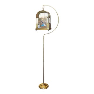 Antique Brass Bird Cage and Stand